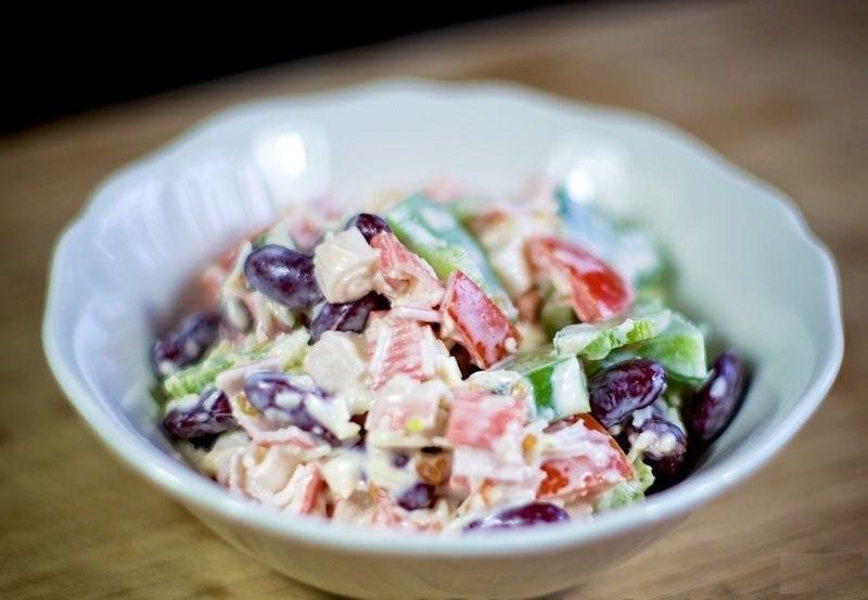 Салат из крабовых палочек фасоли рецепт очень вкусный
