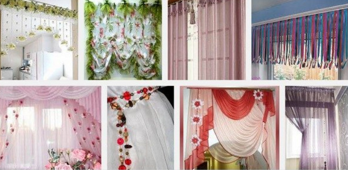 Как украсить занавески фото