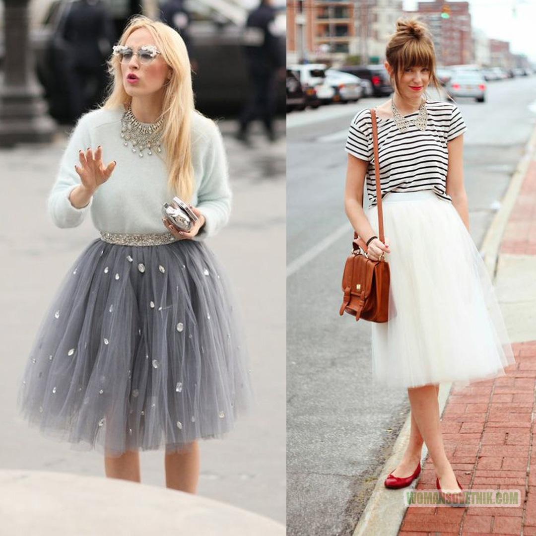 С чем носить юбку из фатина средней длины девушке фото
