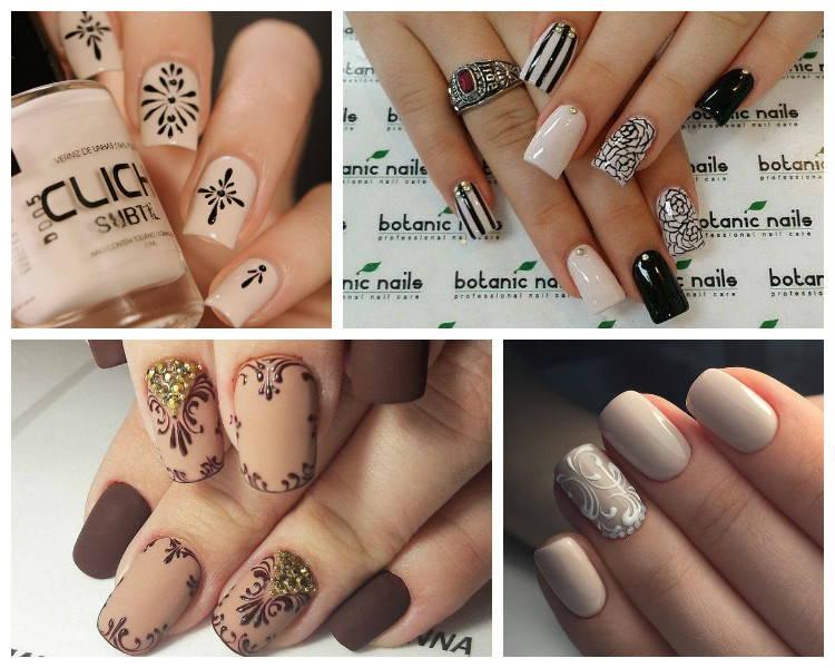 дизайн ногтей в бежевых тонах с рисунком фото